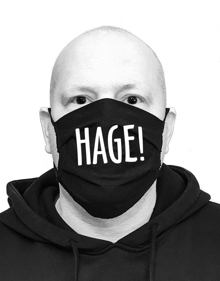 HAGE! Mund-Nasen-Maske weiß auf schwarz
