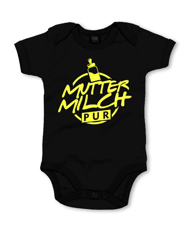 Muttermilch Pur Babystrampler neongelb auf schwarz