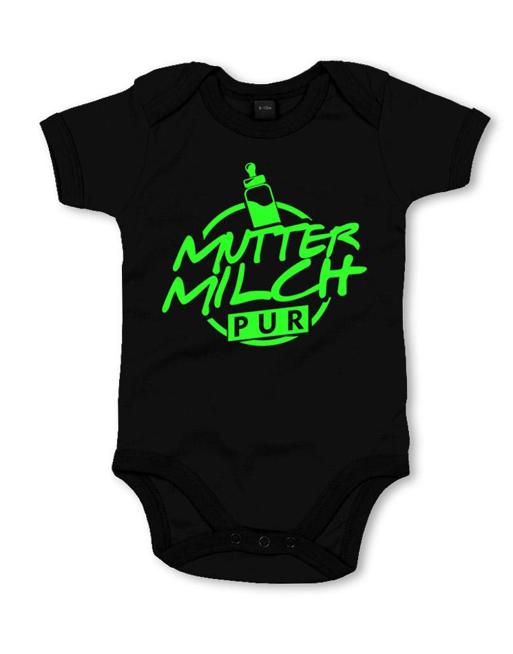 Muttermilch Pur Babystrampler neongrün auf schwarz