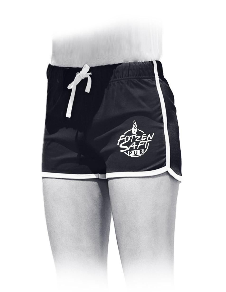 Fotzensaft pur Womens Retro Shorts weiß auf schwarz