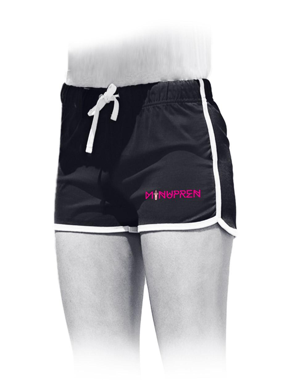 Minupren Womens Retro Shorts pink auf schwarz