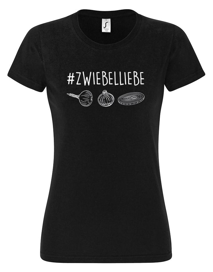 Zwiebelliebe Damen T-Shirt weiß auf schwarz