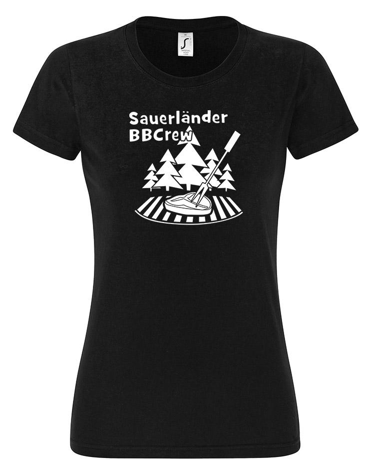 Sauerländer BBCrew Damen T-Shirt weiß auf schwarz