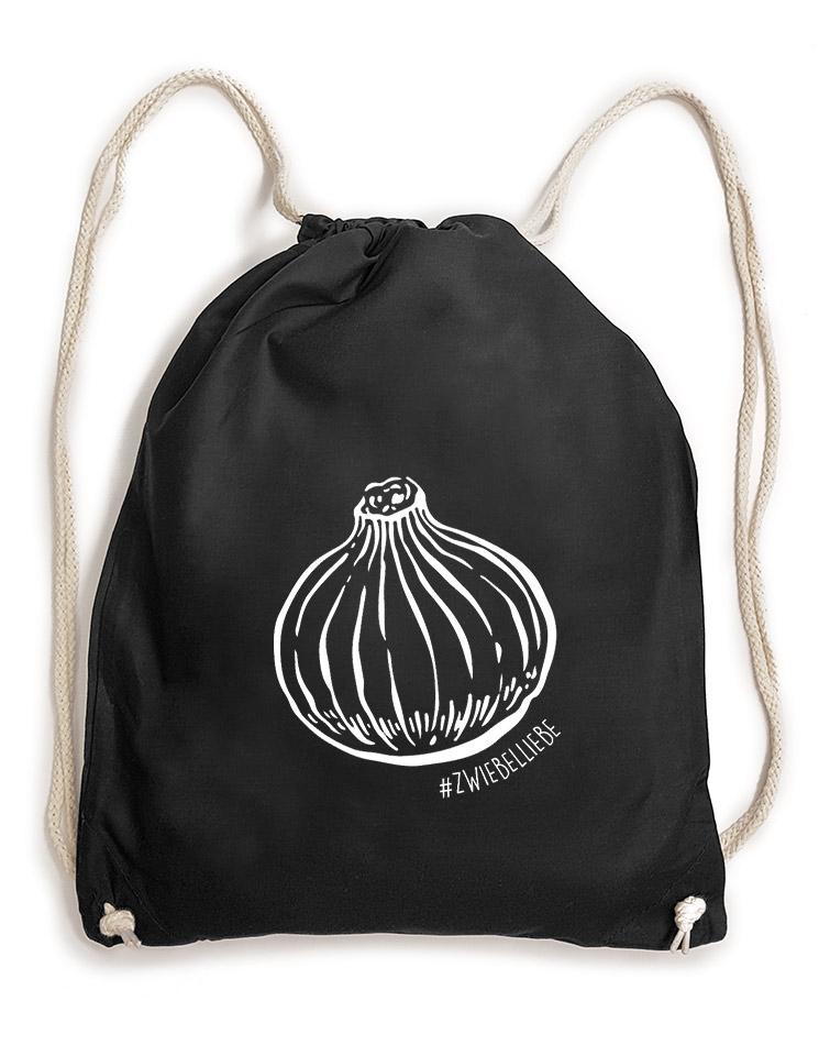 Onion Baumwollrucksack weiß auf schwarz