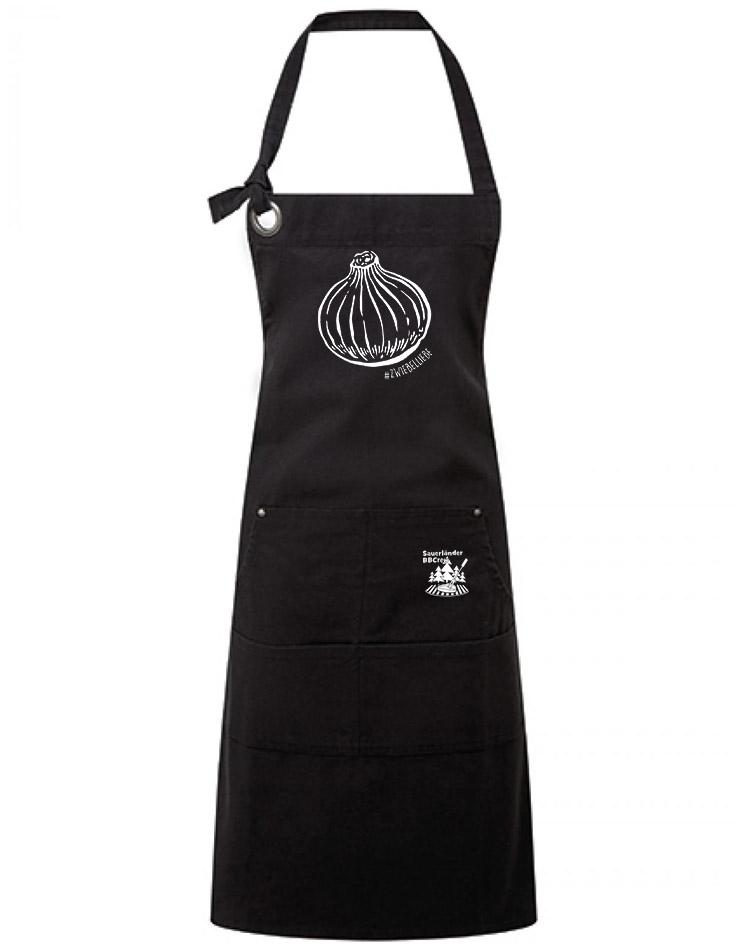 Onion Schürze weiß auf schwarz