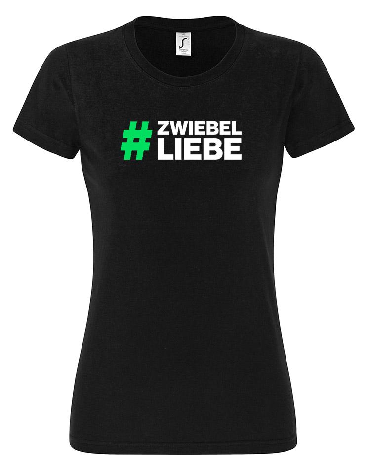 Zwiebelarmy Damen T-Shirt weiß auf schwarz