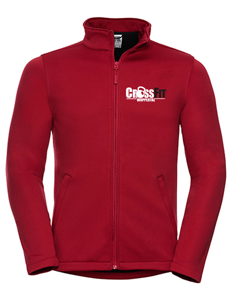 CrossFit Wuppertal Fitness Softshell Jacket Men mehrfarbig auf classic red