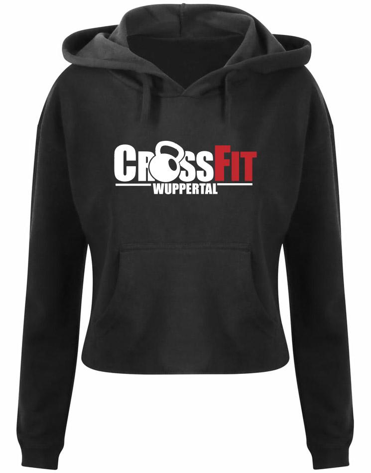 CrossFit Wuppertal Fitness Crop Hoodie Women mehrfarbig auf schwarz