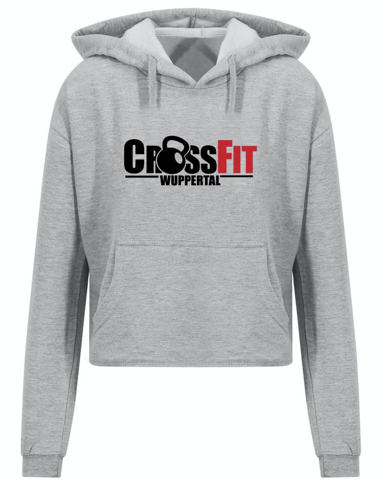 CrossFit Wuppertal Fitness Crop Hoodie Women mehrfarbig auf heather grey