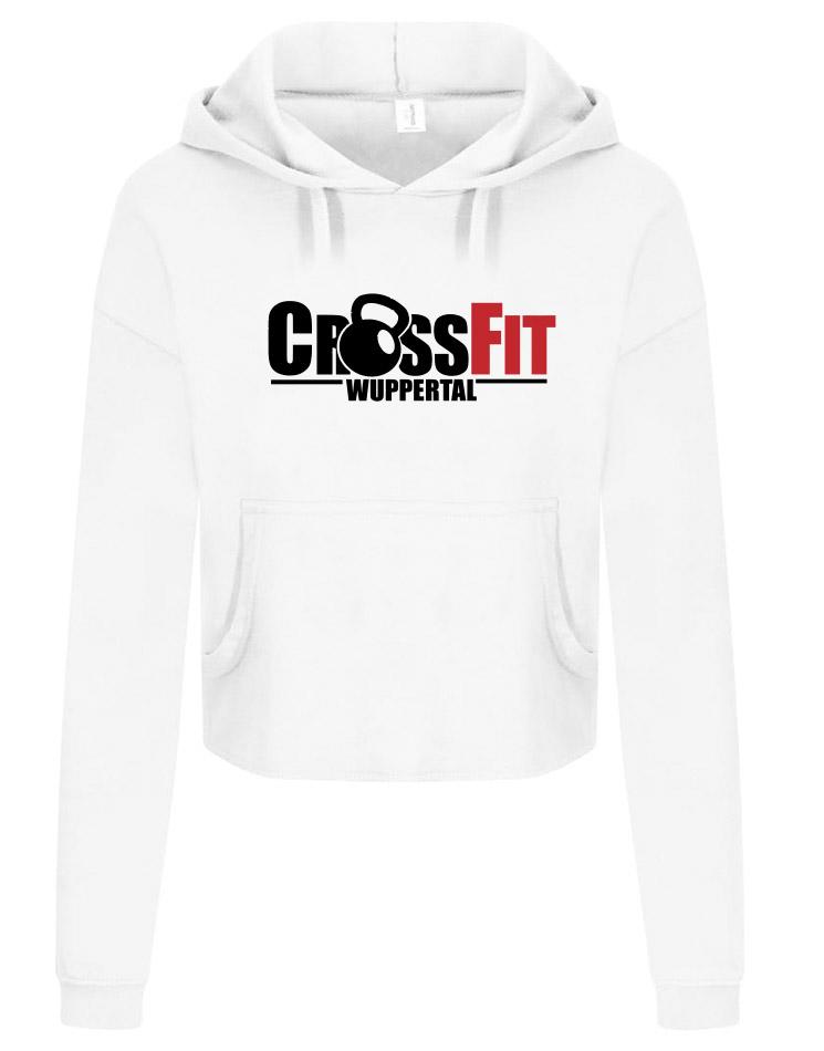 CrossFit Wuppertal Fitness Crop Hoodie Women mehrfarbig auf arctic white
