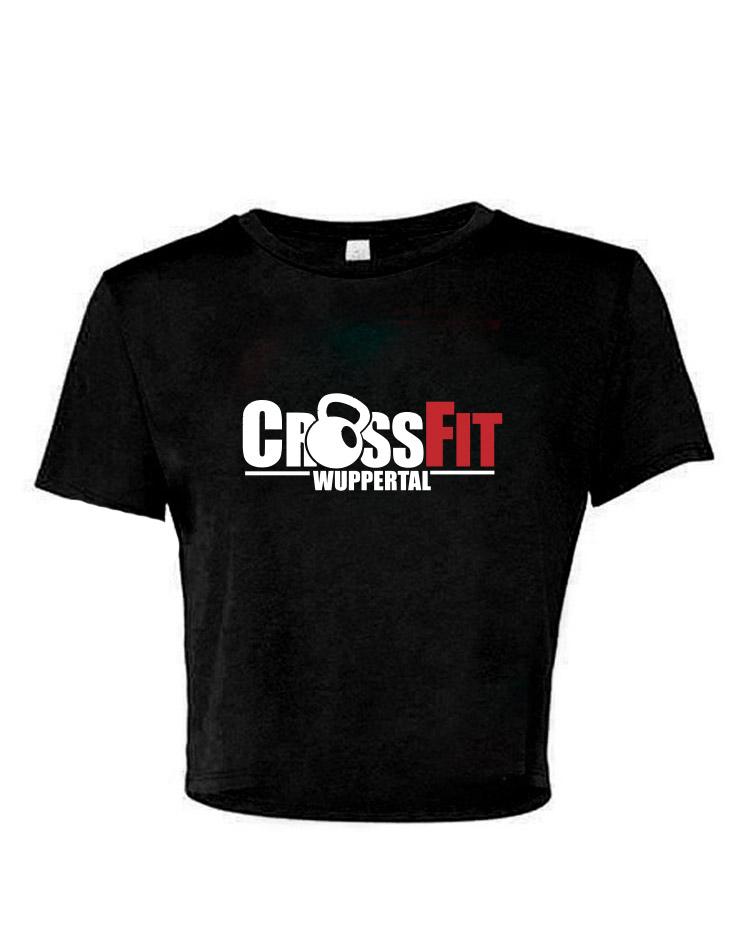 CrossFit Wuppertal Stop Wishing Start Doing Cropped Tee mehrfarbig auf schwarz