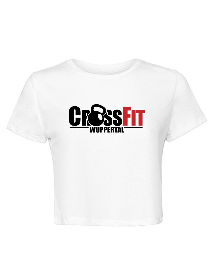 CrossFit Wuppertal Stop Wishing Start Doing Cropped Tee mehrfarbig auf weiss