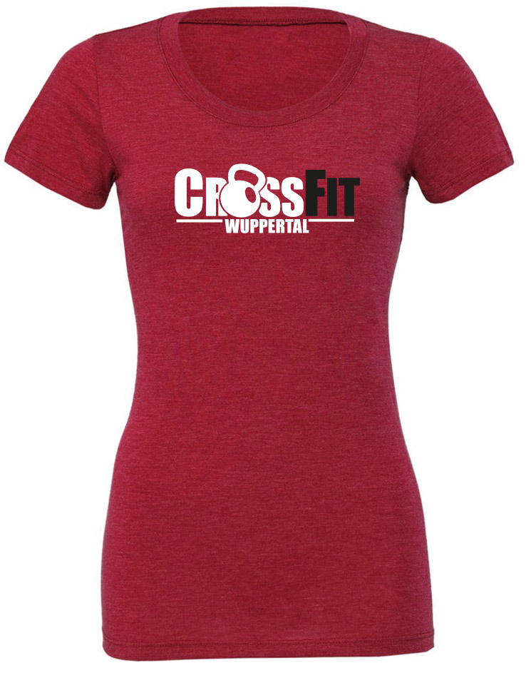 CrossFit Wuppertal Girly T-Shirt mehrfarbig auf red triblend