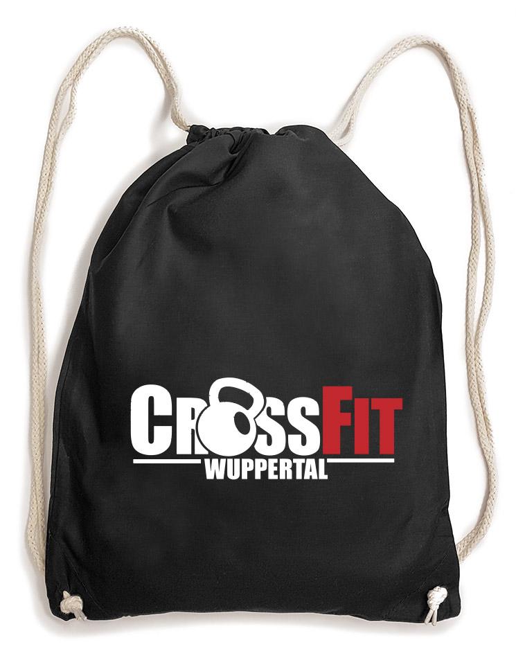CrossFit Wuppertal Baumwollrucksack mehrfarbig auf schwarz