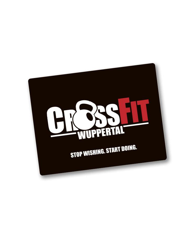 CrossFit Wuppertal Textil-Mousepad mehrfarbig auf schwarz
